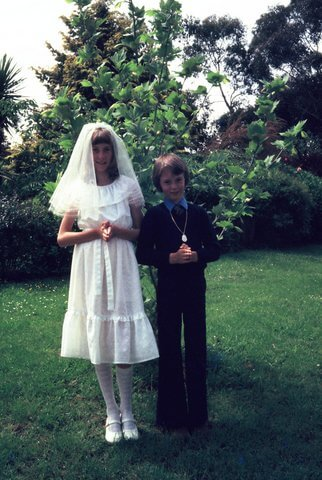 pic of a two kids doing their holy communion, editing example