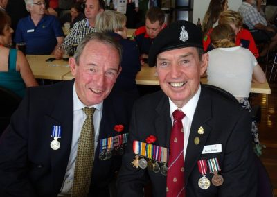 photo of two war diggers one with a quite red face. editing example before shot