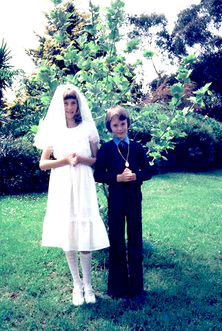 2 kids doing their holy communion, photo as an editing example