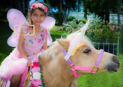 girl dressed in fairy outfit on horse with unicorn horn attached